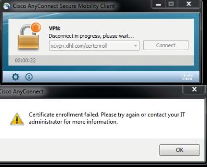 Authentication failed cisco vpn client